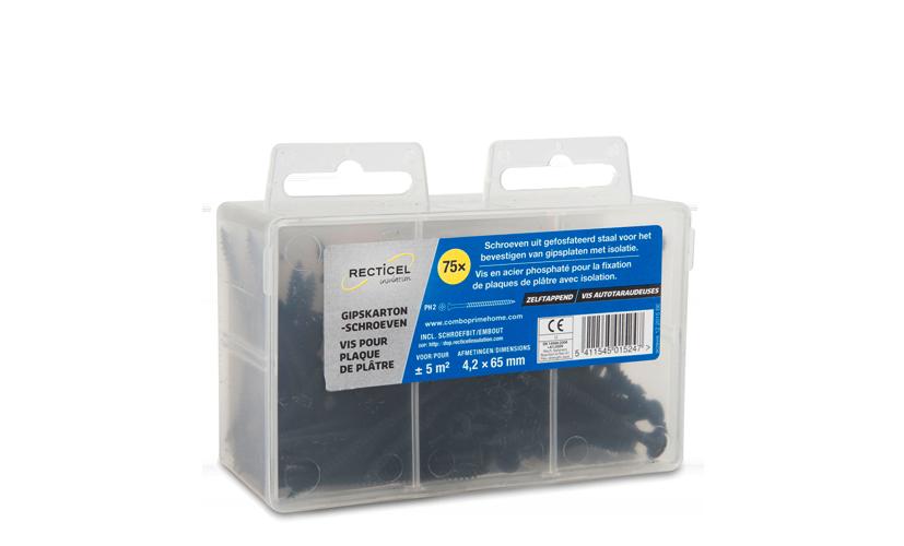 Schroeven in verschillende lengtes voor het bevestigen van gipskartonplaten met isolatie van Recticel Insulation