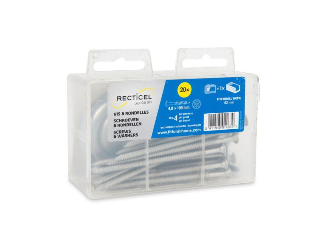 Schroeven en rondellen voor het bevestigen van isolatieplaten van Recticel Insulation - 100mm