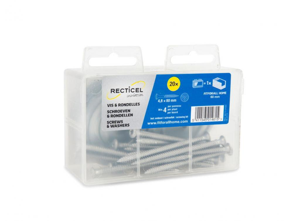 Schroeven en rondellen voor het bevestigen van isolatieplaten van Recticel Insulation - 80mm