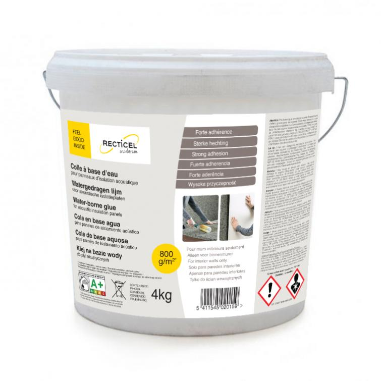 Water-borne glue specially recommended for acoustic insulation with plasterboard for walls